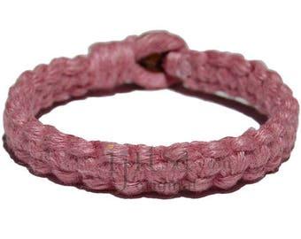 Rose pink flat wide hemp bracelet or anklet