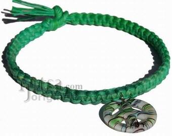 Green rainbow flat wide hemp necklace with green Murano glass Peace