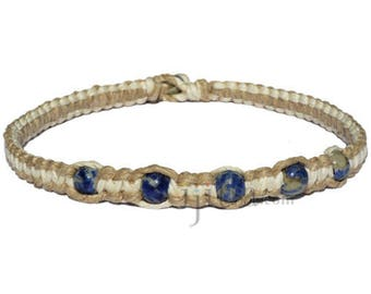 Natural and white flat wide hemp necklace with five sodalite beads