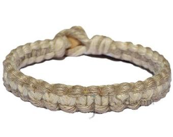 Natural and white flat wide hemp bracelet or anklet