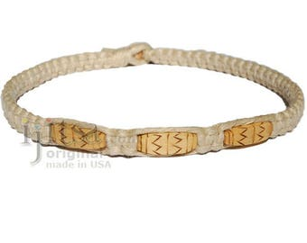 Natural flat wide hemp necklace with three Zigzag wooden beads