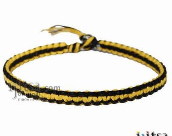 Black and Yellow wide Hemp Surfer Style Choker Necklace