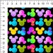 Rainbow MOUSE Grunge Ears Cotton Lycra Fabric 200gsm 95/5