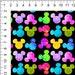 Rainbow MOUSE Grunge Ears Woven/Poplin Fabric 100% Cotton