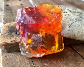 Red Orange Yellow Raw Glass - Glass Chunk - Tri Color Glass
