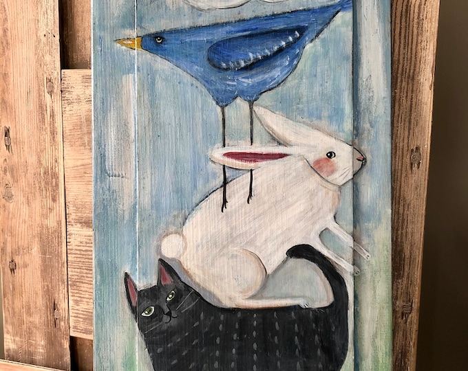Children/'s  Painting on Vintage Wooden Door Panel Hand painted  with quote