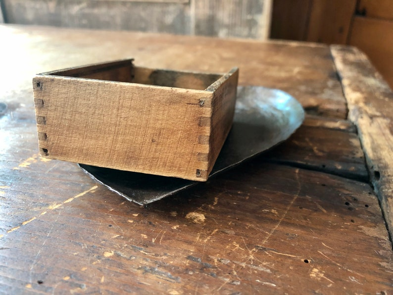 Finger-Jointed Advertising Box- Wooden Box with Original Paper Label Goodyear Vintage Parts Box -U.S.A United Shoe Machinery Co - Boston