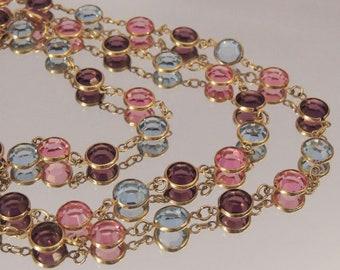 SWAROVSKI Crystal Necklace, Swarovski Pastel Austrian Crystal Necklace, Bezel Set Swarovski Crystal Chain, Vintage Swarovski Jewelry