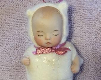 Porcelain Doll Christmas Ornament