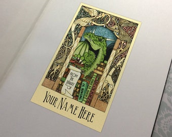 Made to order - 30 Personalized - Custom Dragon's Treasure Library bookplate Ex Libris Sticker Adhesive - 7 Dragon color choices