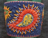 Made to order - Hand Embroidered Ethnic Paisley Coffee Cup Cozy Sleeve sheath protector warmer - you choose the color! free usa ship