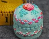 Made to order - Springtime floral small bottlecap pincushion  free usa ship