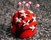 Made to order - Cherry Blossom Small Bottlecap Pincushion  free usa ship