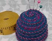 IN STOCK - Teal Spirals Paisley M Bottlecap Pincushion free usa ship
