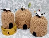 Made to order - Beehive Bottlecap Pincushion - choose S, M or L - free usa ship