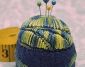 IN STOCK - Modern meadow and lake stitched Medium Bottlecap Pincushion  free usa ship