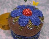 Made to order - Cornflower Blue Floral Large Pedestal Pincushion