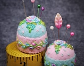 Made to Order - Delicate Rose and Vine Small Bottlecap Pincushion free US ship