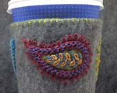 IN STOCK free US ship - Hand Embroidered Ethnic Paisley Coffee Cup Cozy Sleeve sheath in Grey and Jewel Tones
