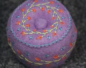 Made to order - Petite Lavander bright little button and flowers Pincushion free usa ship