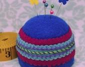 IN STOCK -  Bold Blue Large Bottlecap Pincushion free us ship