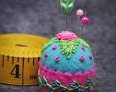 Made to order - Teal and Hot Pink Roses Small Bottlecap Pincushion Free us ship