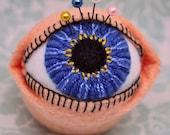 IN STOCK - Medium Blue Eye The Original Eyeball  Pincushion Large Bottlecap free usa ship