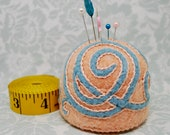 IN STOCK free us ship - Peach and teal Scrolling Vines Medieval inspired floral Large size bottlecap pincushion
