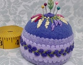Made to Order - Blue-violet shades floral Large Bottlecap Pincushion - free usa ship
