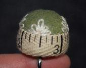 FREE SHIP Ruler Lace Bottlecap Pincushion with adjustable ring