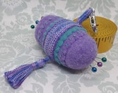 IN STOCK - Lavender and Teal Charming Double Small Bottlecap pendant wearable chatelaine pincushion