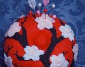 Made to order - Medium Japanese Cherry Blossom Pincushion  free usa ship