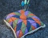 Made to order - Quilter's Square Pincushion with Lace  free usa ship