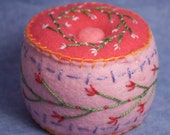 Made to order - Bright Little Flowers Cute Pincushion  free usa ship
