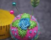 MADE TO ORDER  Pink and Teal Rose Small Bottlecap Pincushion -  free us ship