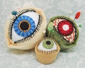 Made to order - The Original Eyeball Bottlecap Pincushion - choose S, M or L - freeusa ship