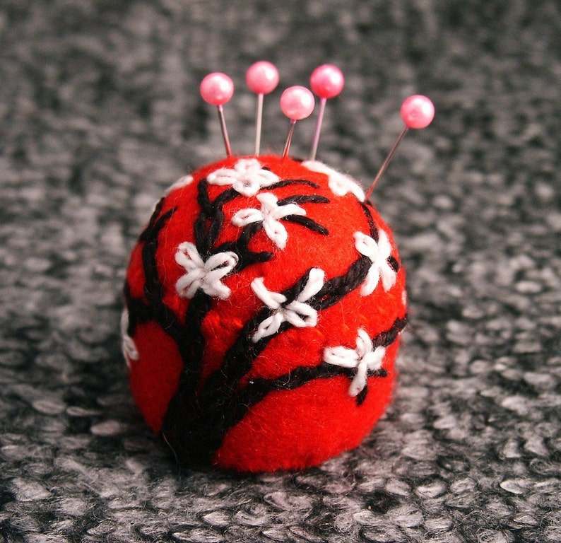 Made to order  Cherry Blossom Small Bottlecap Pincushion image 0