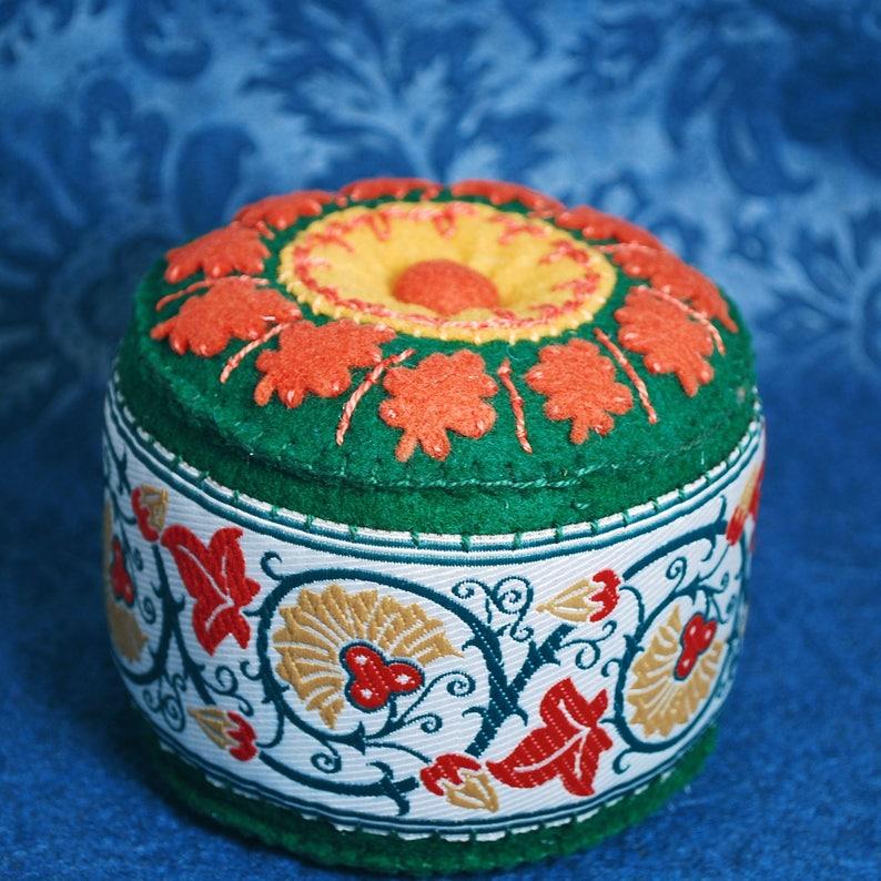 Made to order  Large Medieval Flora Pincushion  free usa ship image 0