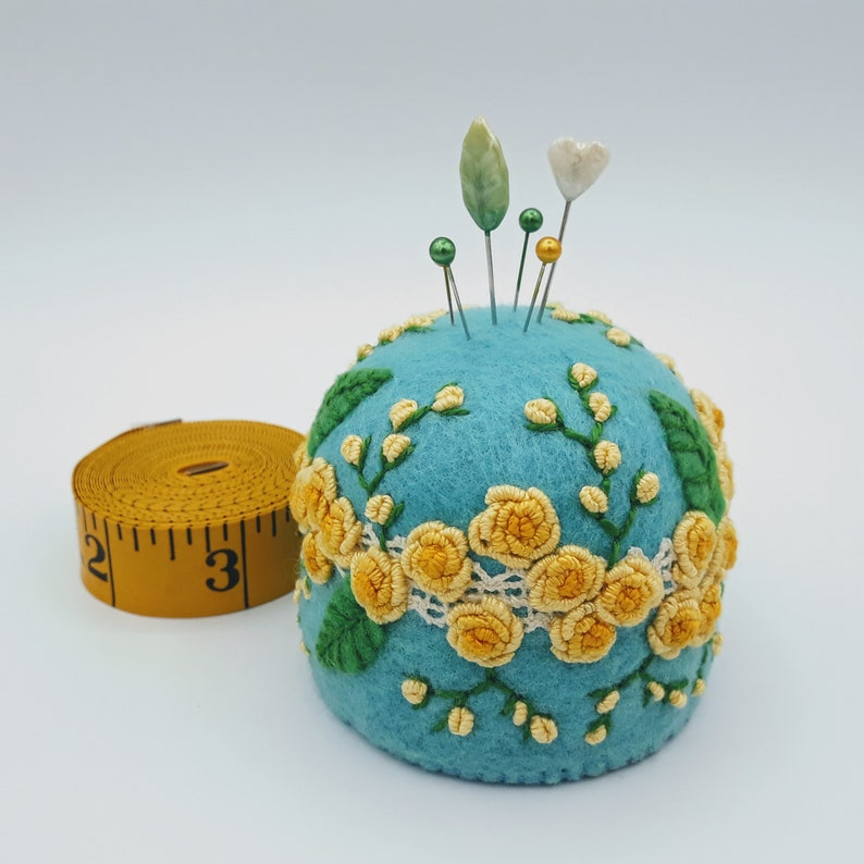 Made to order  Yellow roses embroidered Large pincushion free image 0