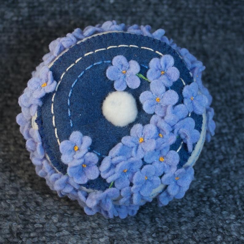 Made to order  Blue flowers Pincushion  free usa ship image 0