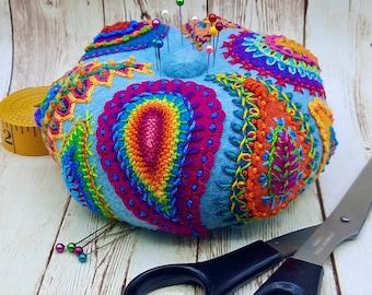 MADE TO ORDER - Large Round Amazing Paisley Pincushion