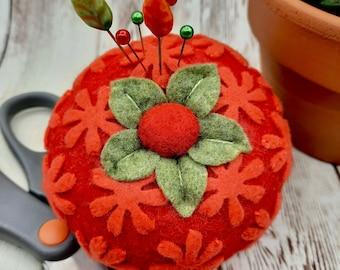 Made to order - Throughly Girly Tomato Pincushion  free usa ship