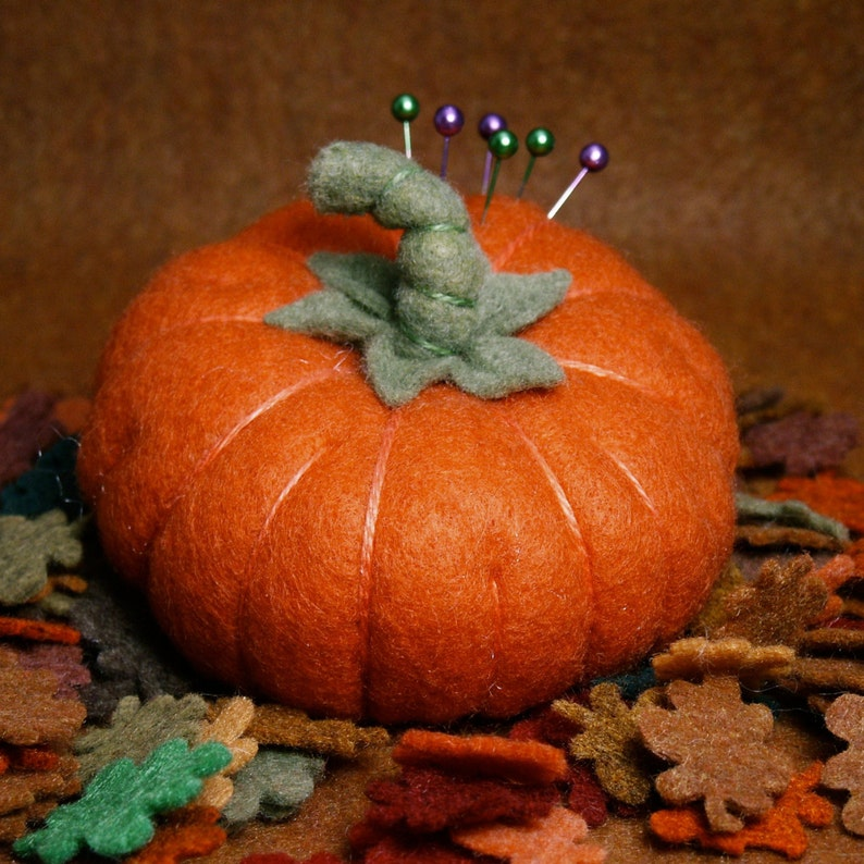 Made to order  Custom made Fall Pumpkin Pincushion made to image 0