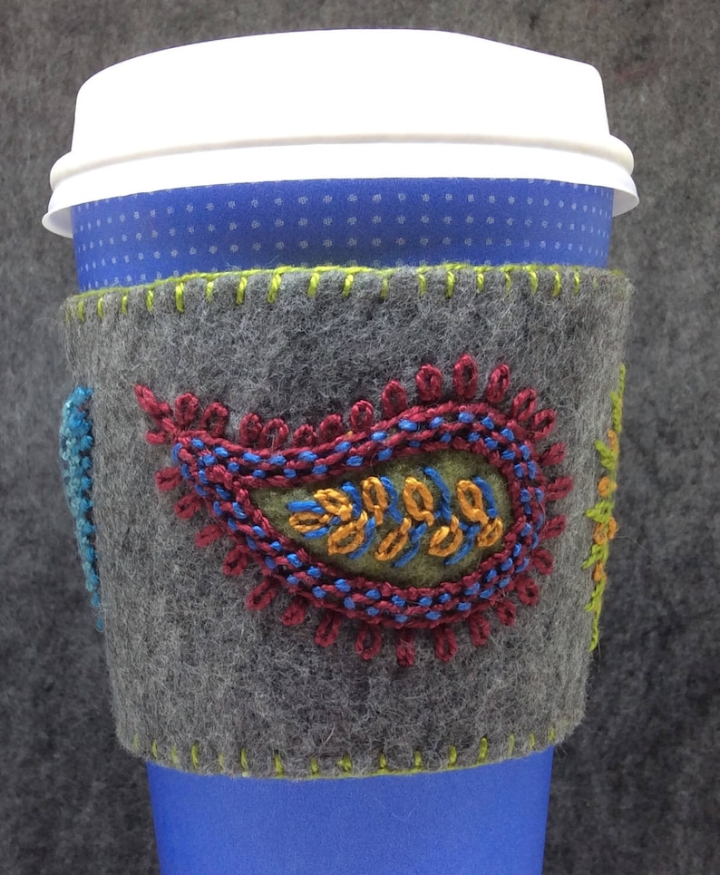 IN STOCK free US ship  Hand Embroidered Ethnic Paisley Coffee image 0
