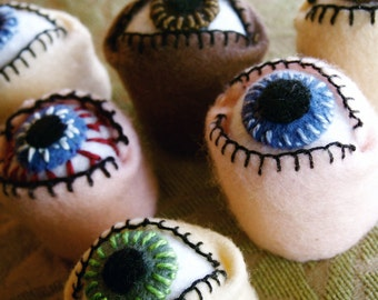 Made to order - Eyeball Bottlecap Pincushion  free usa ship