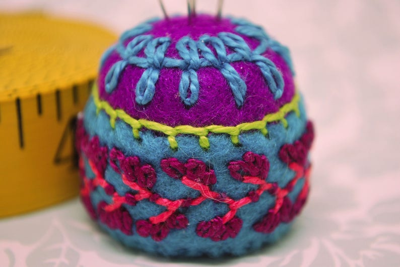 Made to order  Bright Flowers Small bottlecap pincushion image 0