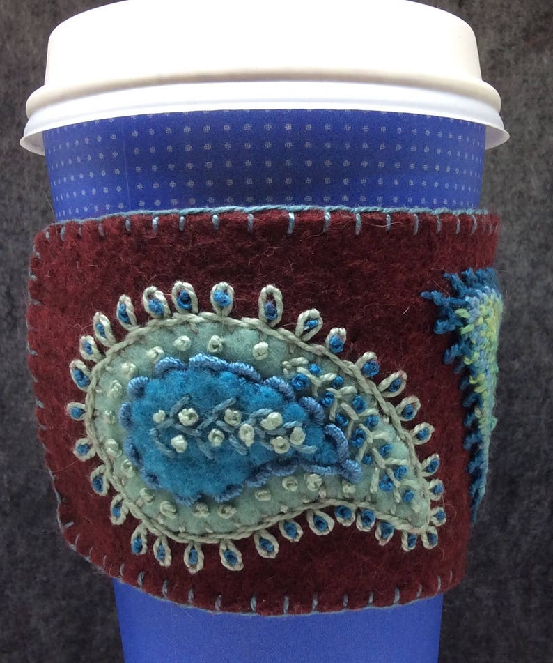 MADE TO ORDER Hand Embroidered Ethnic Paisley Coffee Cup Cozy image 0
