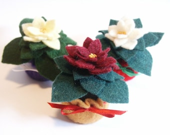 Made to order - 3-pack Custom small Bottlecap Holiday Poinsettia pincushions ornaments  free usa ship