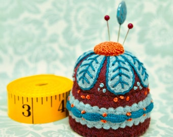 IN STOCK - Daisy Sangria and teal M size Bottlecap Pincushion  free usa ship