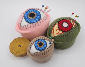 Made to order - The Original Eyeball Bottlecap Pincushion Pin Cushion - choose S, M or L - freeusa ship